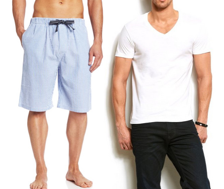 Eric's Favorites ☞ Bottoms Out Seeksucker Sleep Shorts  & Armani Pima Cotton Tees